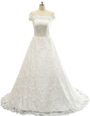 Fashionable Spring A-Line Off-the-shoulder Long Train Lace Wedding Dresses with Back Ruffle Cascade