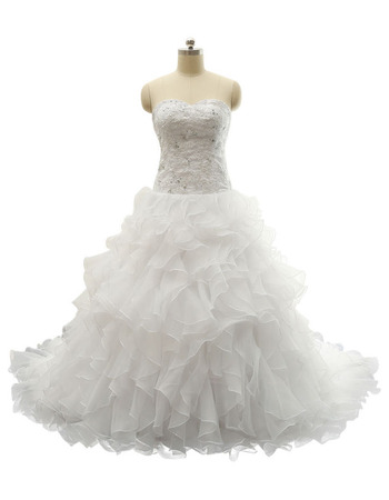 Stunning A-Line Sweetheart Sweep Train Beaded Appliques Wedding Dresses with Exquisitely Layered Ruffles Organza Skirt