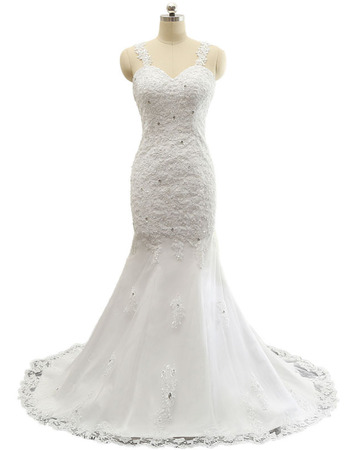 Stunning Wide Straps Sweetheart Tulle Wedding Dresses with Crystal Beaded Appliques