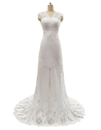 Elegant Sheath V-Neck Sleeveless Lace Wedding Dresses with Bow Detail