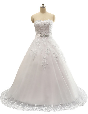 Ball Gown Sweetheart Sweep Train Satin Wedding Dresses