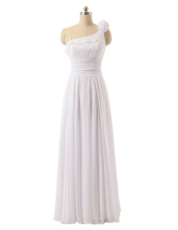 Vintage One Shoulder Floor Length Chiffon Asymmetric Wedding Dresses