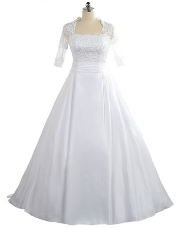 Square Floor Length Taffeta Wedding Dress with Half Sleeves