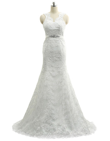 Custom Sheath V-Neck Sleeveless Sweep Train Lace Wedding Dresses