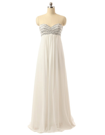 Inexpensive Empire Sweetheart Floor Length Chiffon Wedding Dresses