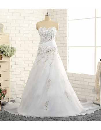 Custom A-Line Sweetheart Sweep Train Chiffon Wedding Dresses