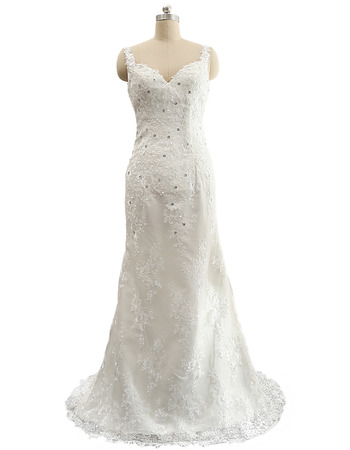 Affordable Sheath Sweetheart Lace Appliques Wedding Dress with Crystal Detailing