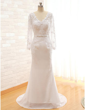 V-Neck Sweep Train Wedding Dresses with Long Sleeves