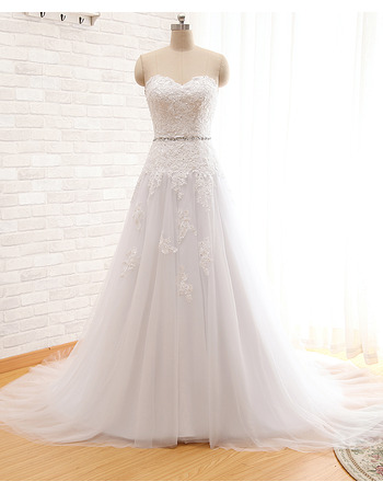 Dramatic A-Line Sweetheart Lace Appliques Bodice Tulle Wedding Dresses with Beaded Waist