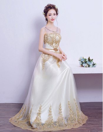 Elegant Floor Length Satin Organza Embroidery Wedding Dresses