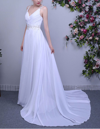 Daring Open Back Beading Appliques Ruched Chiffon Beach Wedding Dresses