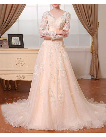 Court Train Beading Appliques Organza Wedding Dresses with Long Illusion Sleeves