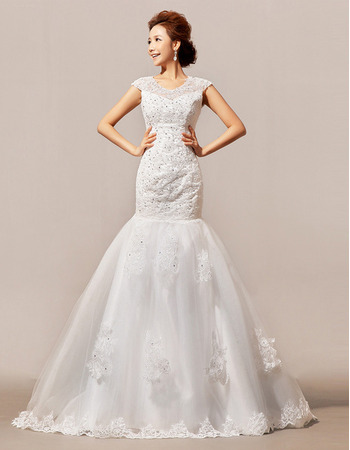 Gorgeous Crystal Beading Trumpet Floor Length Satin Tulle Wedding Dresses