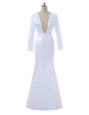 Sexy Plunging V-neckline Long Sleeves Floor Length Satin Wedding Dress with Beaded Waist