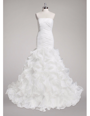 Romantic Criss-Cross Bodice Organza Wedding Dress with Ruffles Galore Skirt