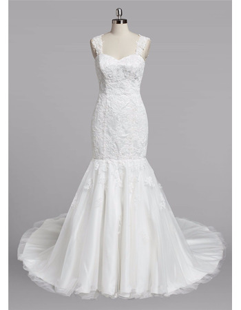 Classy Trumpet Sweetheart Wide Straps Sweep Train Satin Tulle Wedding Dresses with Beaded Appliques