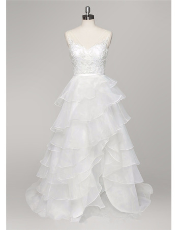 Sexy Sheer Wide Straps Asymmetrical Hem Organza Layered Skirt Wedding Dresses with Appliques