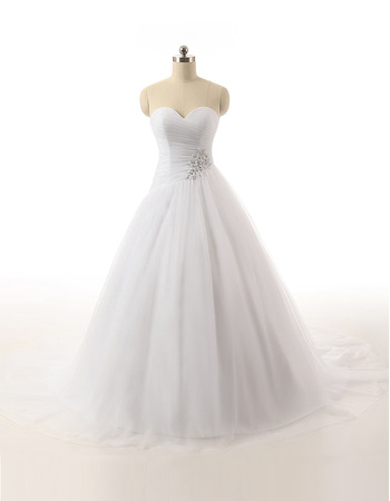 Affordable Ball Gown Sweetheart Full Length Satin Tulle Wedding Dresses with Beaded Waist