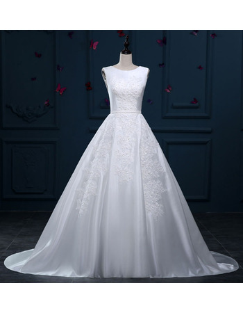 Attractive Appliques Ball Gown Sleeveless Satin Wedding Dresses with Low Back