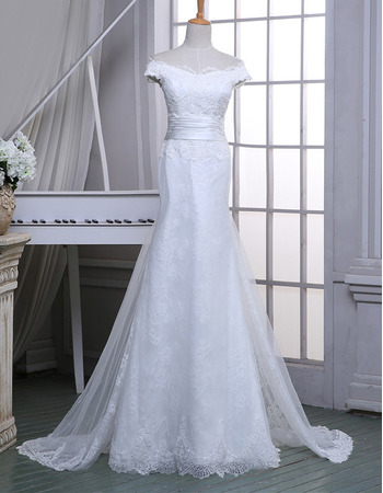 Glamorous Sheath Off-the-shoulder Full Length Lace Tulle Wedding Dresses with Hand-made Flowers