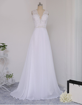 Sexy Beaded Appliques Double V-Neck Chiffon Wedding Dresses with Illusion Back
