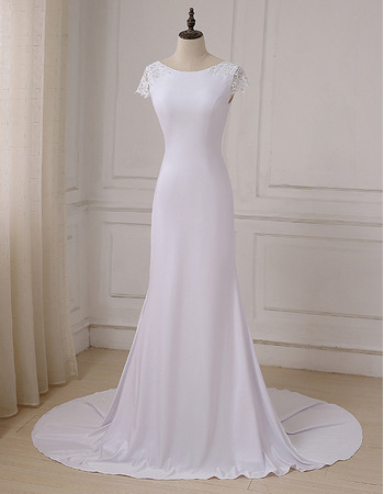 Simple Plunging Scoop Back White Wedding Dresses with Slight Cap Sleeves