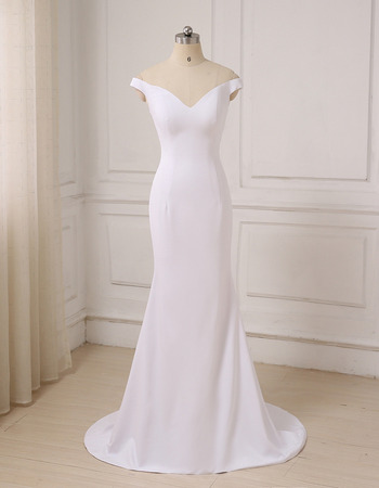 Simple Discount Sheath Off-the-shoulder V-Neck Satin Wedding Dresses