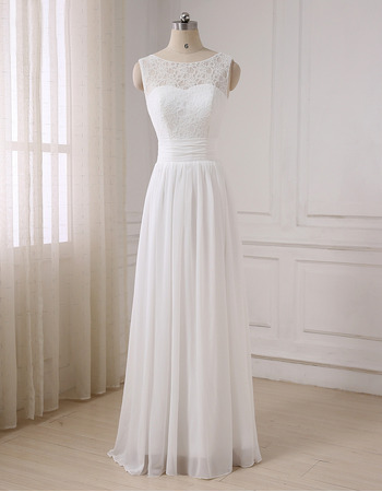 Elegance V-back Full Length Chiffon Wedding Dresses with Lace Bodice