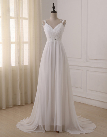 2018 Style Sweetheart Straps Sweep Train Chiffon Wedding Dresses