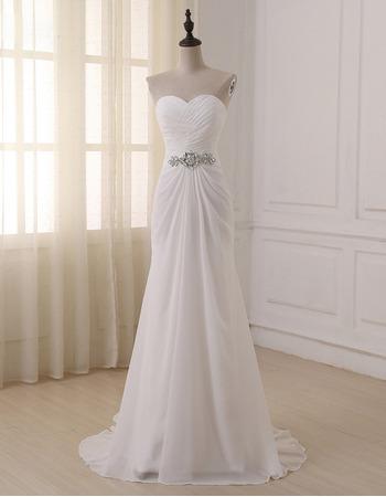 2018 New Sweetheart Floor Length Chiffon Lace-Up Wedding Dresses
