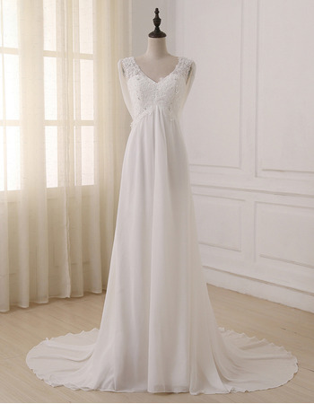 Custom Empire V-Neck Sleeveless Sweep Train Chiffon Wedding Dresses