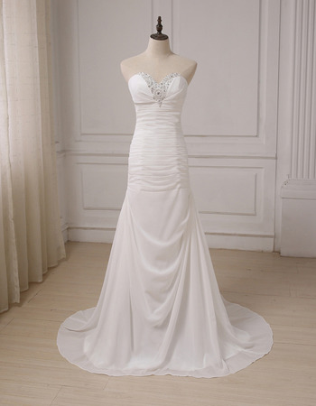 Shimmering Crystal Beading Sweep Train Chiffon Ruched Summer Wedding Dresses