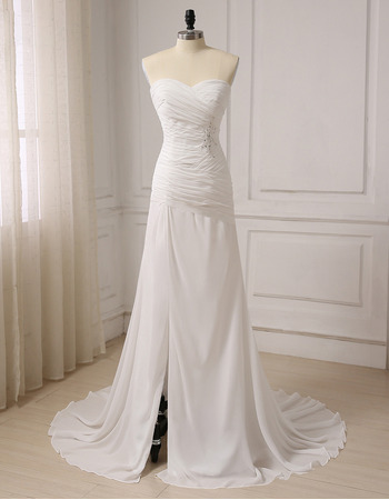 Elegant Asymmetrical Pleated Chiffon Wedding Dress with Side Slit