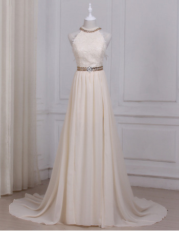 Elegant Rhinestone Embellished Waist and Neck Summer Chiffon Wedding Dresses
