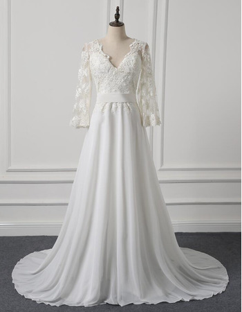 V-Neck Sweep Train Chiffon Wedding Dresses with 3/4 Long Sleeves