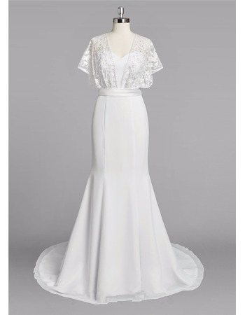 Romantic Sweetheart Sweep Train Chiffon Wedding Dresses with Lace Bodice