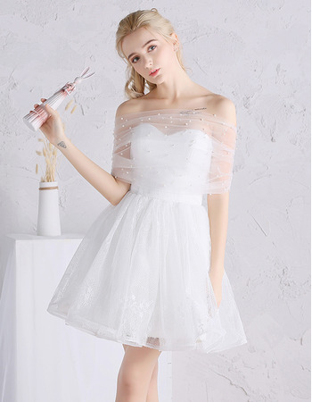 Cute Beaded Off-the-shoulder Mini/ Short Lace Tulle Wedding Dresses