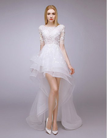 Attractive Beaded Appliques High-Low Organza Tulle Wedding Dresses with Short Sleeves