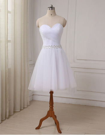 2018 New A-Line Sweetheart Knee Length Satin Tulle Wedding Dresses