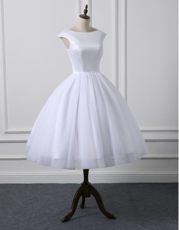 Affordable Simple Ball Gown Knee Length Satin Tulle Reception Wedding Dresses