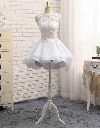 Feminine Illusion Sweetheart Neckline Short Layered Organza Wedding Dresses