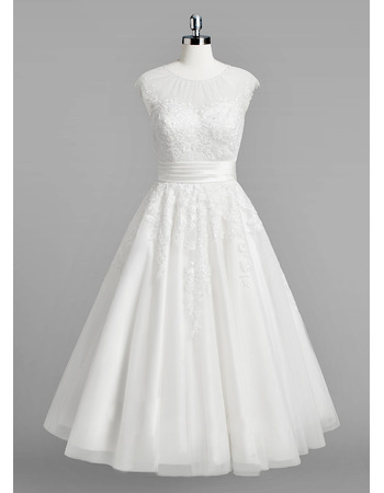 Charming Beaded Round Neck Tulle Reception Wedding Dresses with Keyhole Back