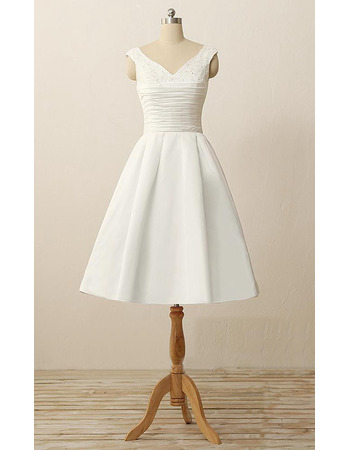 Discount  Simple A-Line V-Neck Short Ruching Satin Reception Wedding Dresses