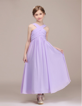 Adorable Pleated Skirt Junior Bridesmaid Dresses with Criss-cross