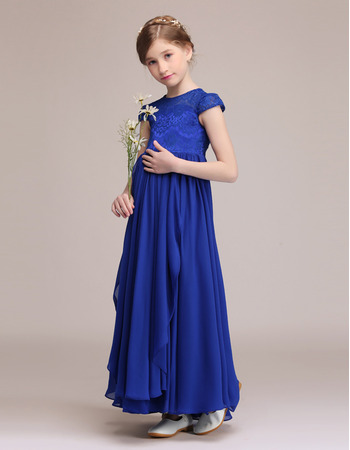 Discount Cap Sleeves Junior Bridesmaid Dresses with with Front Ruffles