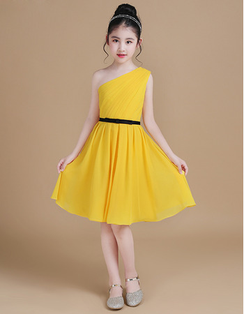 Simple One Shoulder Pleated Chiffon Junior Bridesmaid Dress