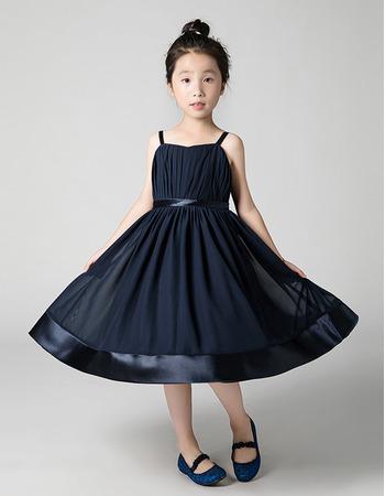 Affordable Spaghetti Straps Ankle Length Chiffon Junior Bridesmaid Dresses