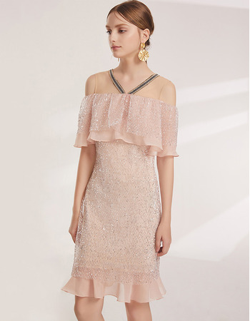 Shimmering Delicate Ruffled Neckline Off-the-shoulder Short Lace Cocktail/ Holiday Dresses for women