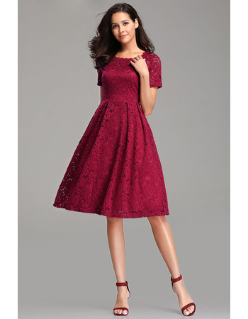Elegant Simple Round Neckline Knee Length Lace Cocktail/ Holiday Dresses with Short Sleeves for women