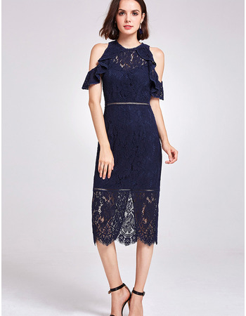 Fashionable Ruffled Neckline Knee Length Lace Cocktail/ Holiday Dresses for women with Split Sleeves